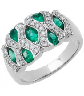 2.05 Carat Oval Cut Emerald and Diamond Ring 18Kt White Gold