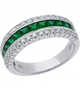 Rings - 1.31 Carat Emerald Cut Emerald and Diamond Ring 18Kt White Gold