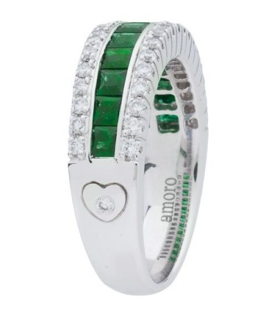1.32 Carat Emerald Cut Emerald and Diamond Ring 18Kt White Gold
