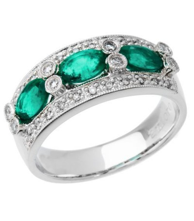 Rings - 1.45 Carat Oval Cut Emerald and Diamond Anniversary Band 18Kt White Gold