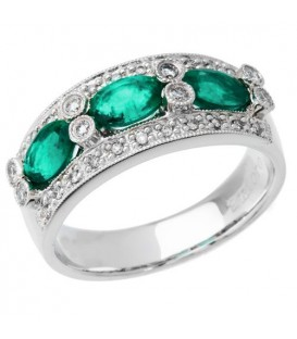 More about 1.45 Carat Oval Cut Emerald and Diamond Anniversary Band 18Kt White Gold