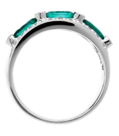 1.45 Carat Oval Cut Emerald and Diamond Anniversary Band 18Kt White Gold