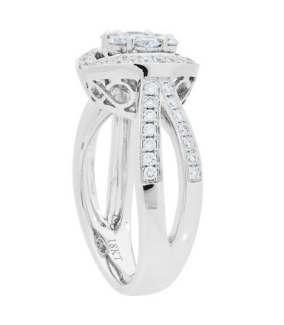0.87 Carat Round Brilliant Diamond Ring 18Kt White Gold