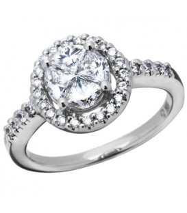 1.01 Carat Quattour for Amoro Diamond Ring 18Kt White Gold