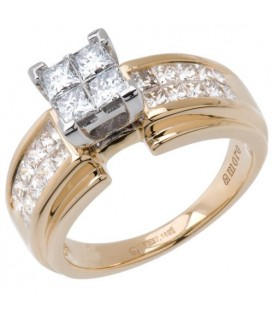 Rings - 0.72 Carat Quattour for Amoro Diamond Ring 18Kt Two-Tone Gold