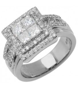 1.84 Carat Quattour for Amoro Diamond Ring 18Kt White Gold