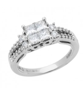 1.00 Carat Quattour for Amoro Diamond Ring 18Kt White Gold