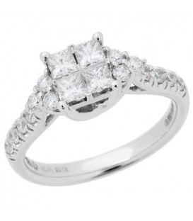Rings - 0.88 Carat Quattour for Amoro Diamond Ring 18Kt White Gold