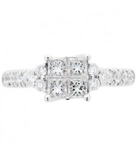 0.88 Carat Quattour for Amoro Diamond Ring 18Kt White Gold
