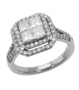 1.42 Carat Quattour for Amoro Diamond Ring 18Kt White Gold