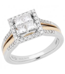 Rings - 0.76 Carat Quattour for Amoro Diamond Ring 18Kt Two-Tone Gold