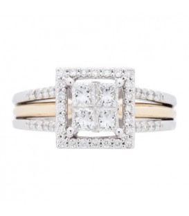 0.76 Carat Quattour for Amoro Diamond Ring 18Kt Two-Tone Gold