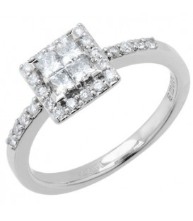 Rings - 0.78 Carat Quattour for Amoro Diamond Ring 18Kt White Gold