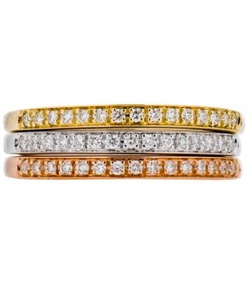 Rings - 0.28 Carat Round Brilliant Diamond Stacking Rings 18Kt Tri-Color Gold