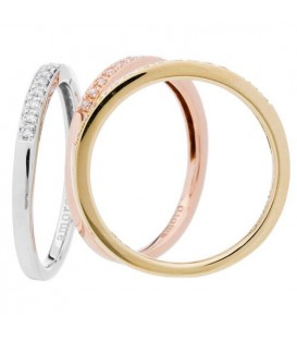 0.28 Carat Round Brilliant Diamond Stacking Rings 18Kt Tri-Color Gold