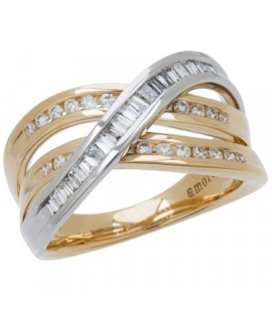 Rings - 0.56 Carat Round Brilliant Diamond Ring 18Kt Two-Tone Gold
