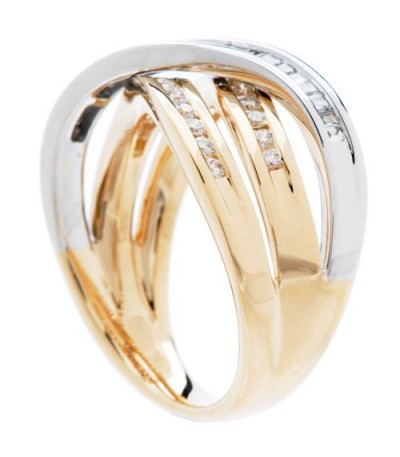 0.56 Carat Round Brilliant Diamond Ring 18Kt Two-Tone Gold