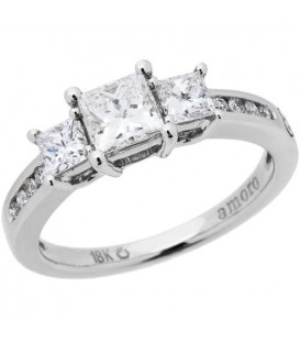 Rings - 0.96 Carat Princess Cut Eternitymark Diamond Ring 18Kt White Gold