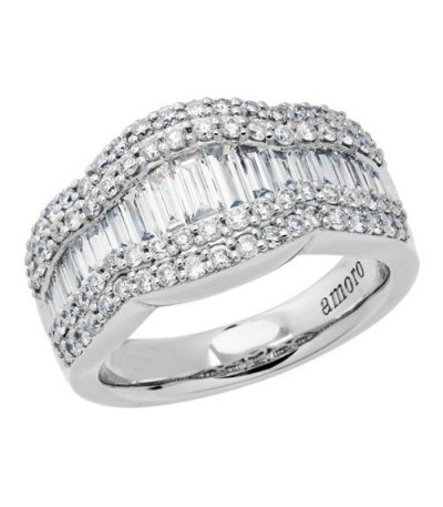 Rings - 1.65 Carat Baguette Cut Eternitymark Diamond Ring 18Kt White Gold
