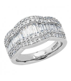 1.65 Carat Baguette Cut Diamond Ring 18Kt White Gold