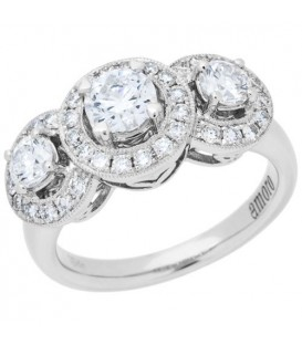 1.32 Carat Round Brilliant Diamond Ring 18Kt White Gold