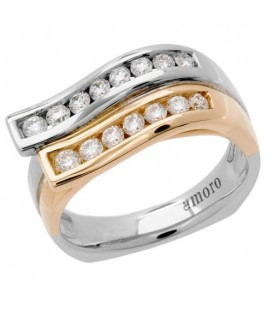 0.54 Carat Round Brilliant Diamond Ring 18Kt Two-Tone Gold