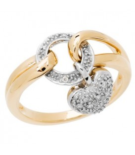 Rings - 0.13 Carat Round Brilliant Diamond Ring 18Kt Two-Tone Gold
