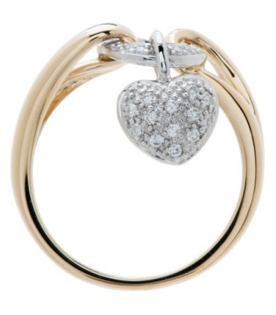 0.13 Carat Round Brilliant Diamond Ring 18Kt Two-Tone Gold