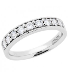 Rings - 0.50 Carat Round Brilliant Diamond Anniversary Band 18Kt White Gold