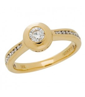 Rings - 0.25 Carat Round Brilliant Diamond Ring 18Kt Yellow Gold