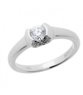 Rings - 0.33 Carat Round Cut Diamond Ring 18Kt White Gold