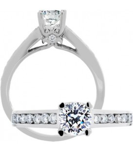 Rings - 0.97 Carat Round Brilliant Pristine Hearts Diamond Ring 18Kt White Gold