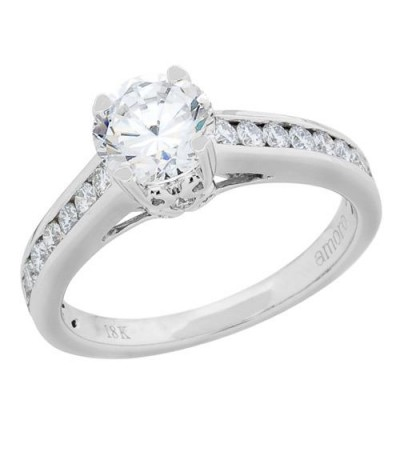 Rings - 0.99 Carat Round Brilliant Pristine Hearts Diamond Ring 18Kt White Gold