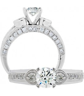 1.37 Carat Round Brilliant Diamond Ring 18Kt White Gold