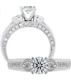 Rings - 1.34 Carat Round Brilliant Eternitymark Diamond Ring 18Kt White Gold