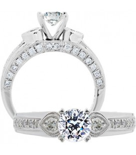 More about 1.37 Carat Round Brilliant Pristine Hearts Diamond Ring 18Kt White Gold