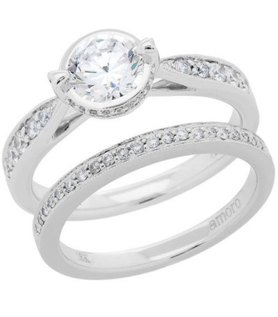 Rings - 1 Carat Eternitymark Diamond Bridal Set 18Kt White Gold