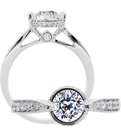 Rings - 1.06 Carat Round Brilliant Pristine Hearts Diamond Ring 18Kt White Gold