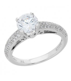 1.16 Carat Round Brilliant Pristine Hearts Diamond Ring 18Kt White Gold