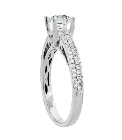 Rings - 1.03 Carat Round Brilliant Pristine Hearts Diamond Ring 18Kt White Gold