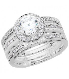 Rings - 1.04 Carat Eternitymark Diamond Bridal Set 18Kt White Gold