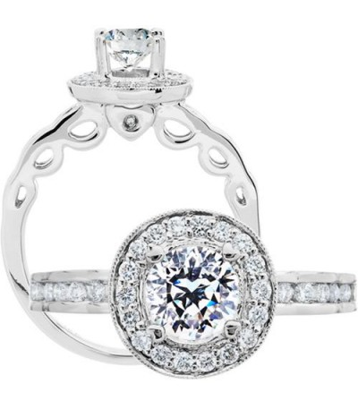 Rings - 1.08 Carat Round Brilliant Pristine Hearts Diamond Ring 18Kt White Gold