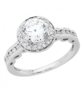 1.08 Carat Round Brilliant Pristine Hearts Diamond Ring 18Kt White Gold
