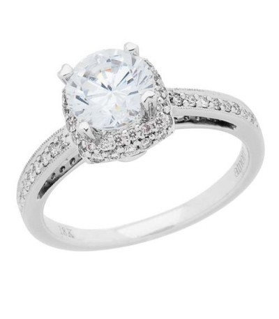 1.06 Carat Round Brilliant Diamond Ring 18Kt White Gold