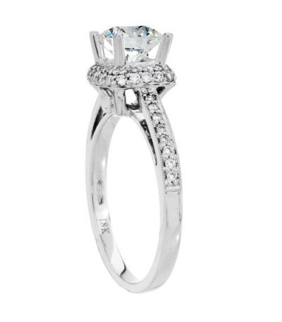 1.06 Carat Round Brilliant Pristine Hearts Diamond Ring 18Kt White Gold