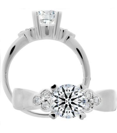 Rings - 1.01 Carat Round Brilliant Eternitymark Diamond Ring 18Kt White Gold