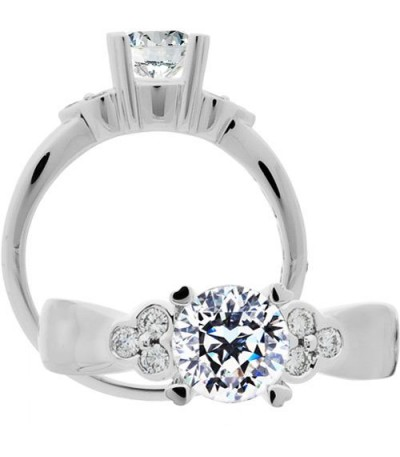 Rings - 1.20 Carat Round Brilliant Pristine Hearts Diamond Ring 18Kt White Gold