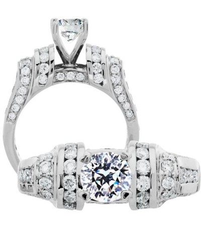 Rings - 1.93 Carat Round Brilliant Pristine Hearts Diamond Ring 18Kt White Gold