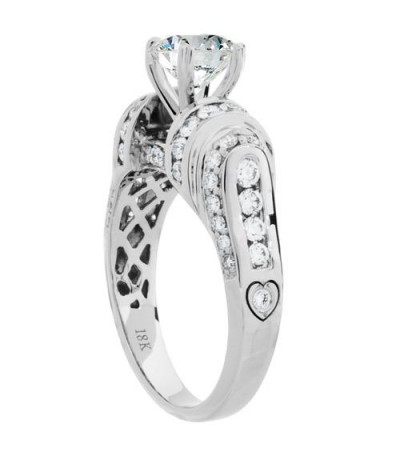 1.93 Carat Round Brilliant Pristine Hearts Diamond Ring 18Kt White Gold
