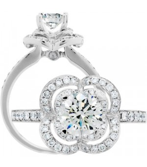 Rings - 1 Carat Round Brilliant Center 18Kt White Gold Diamond Ring Carat Total Weight 1.41